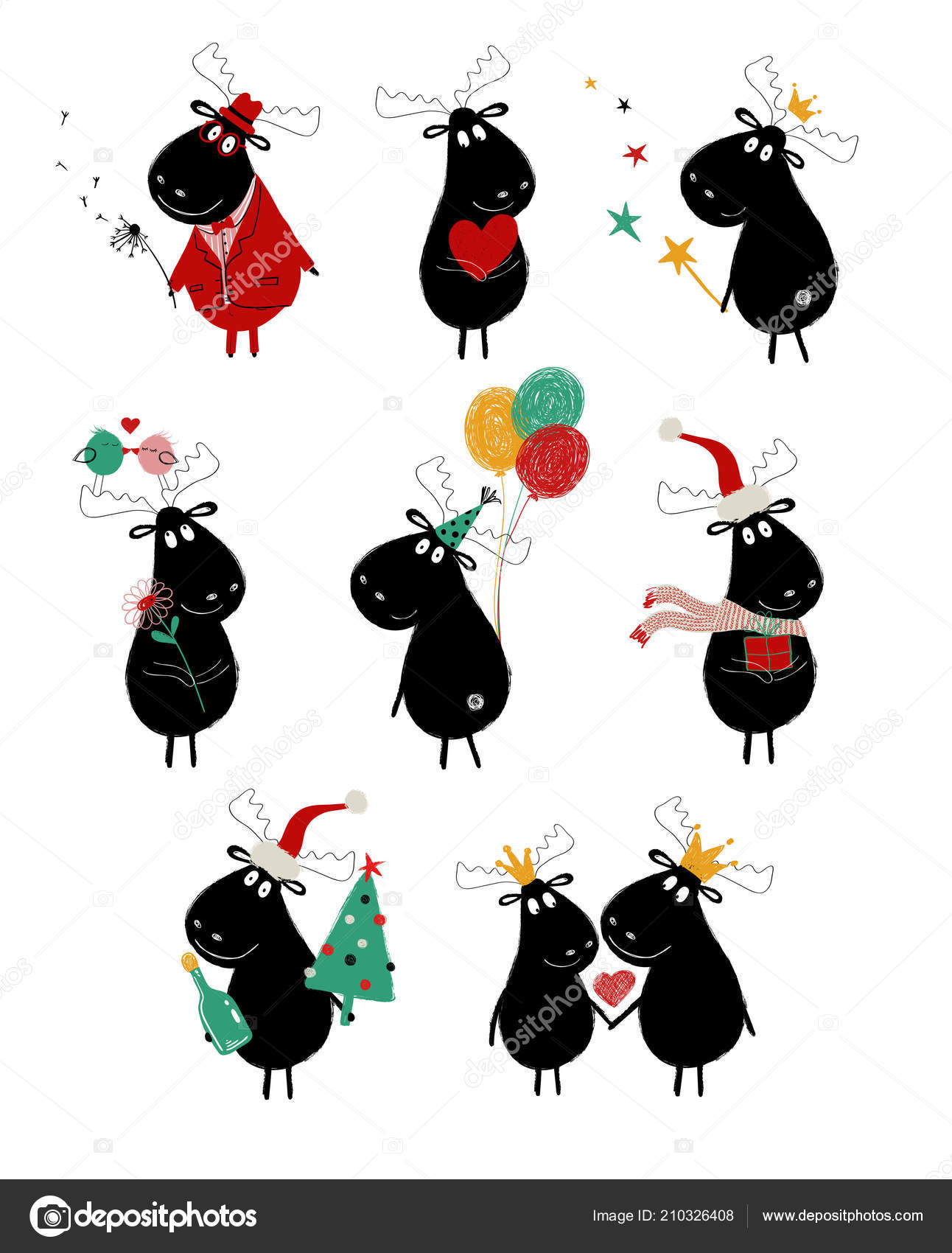 Funny Set Cute Black Moose Perfect Greeting Cards Posters Invitation ...