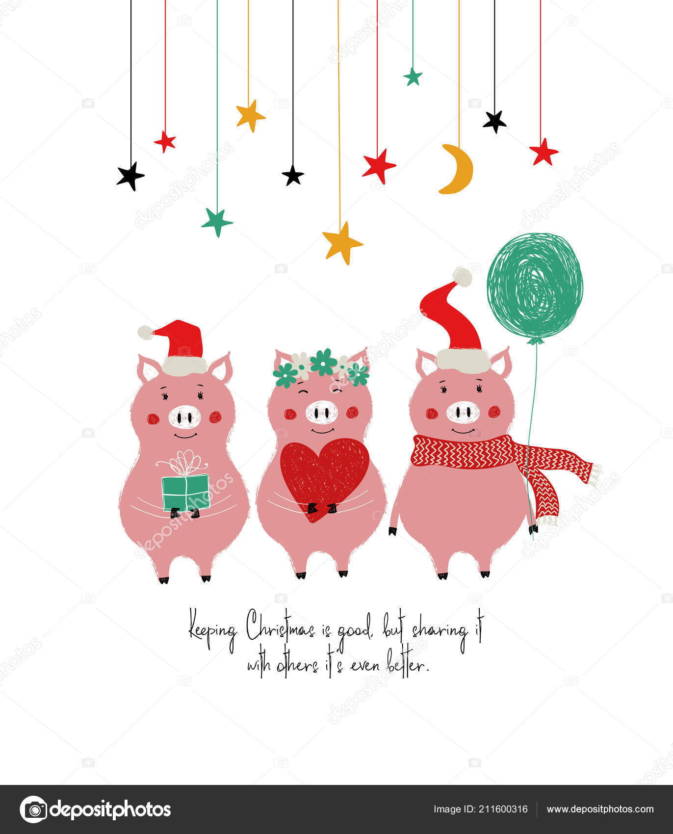 Christmas New Year Greeting Card Cute Pigs Phrase Keeping Christmas
