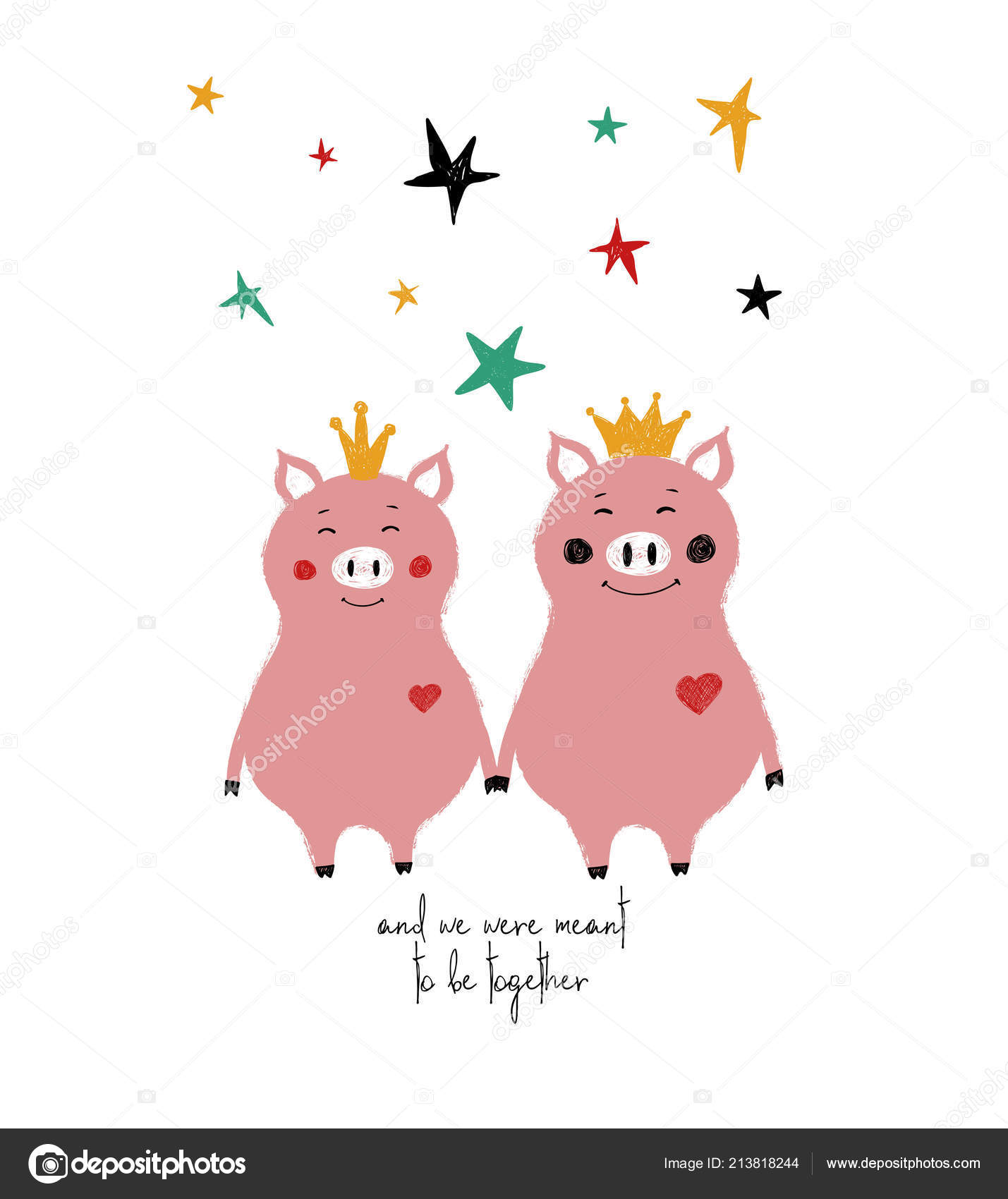 Par Tomarse Las Manos Cerdos Hadas Coronas Tarjeta Felicitacion Con
