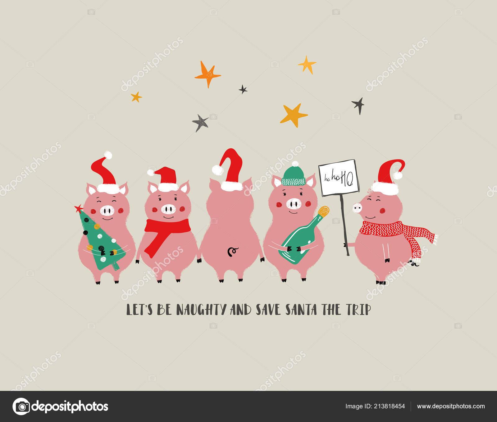 Frases De Felicitacion De Ano Nuevo Y Navidad.Divertida Banda Cerdos Tarjeta Felicitacion Navidad Ano