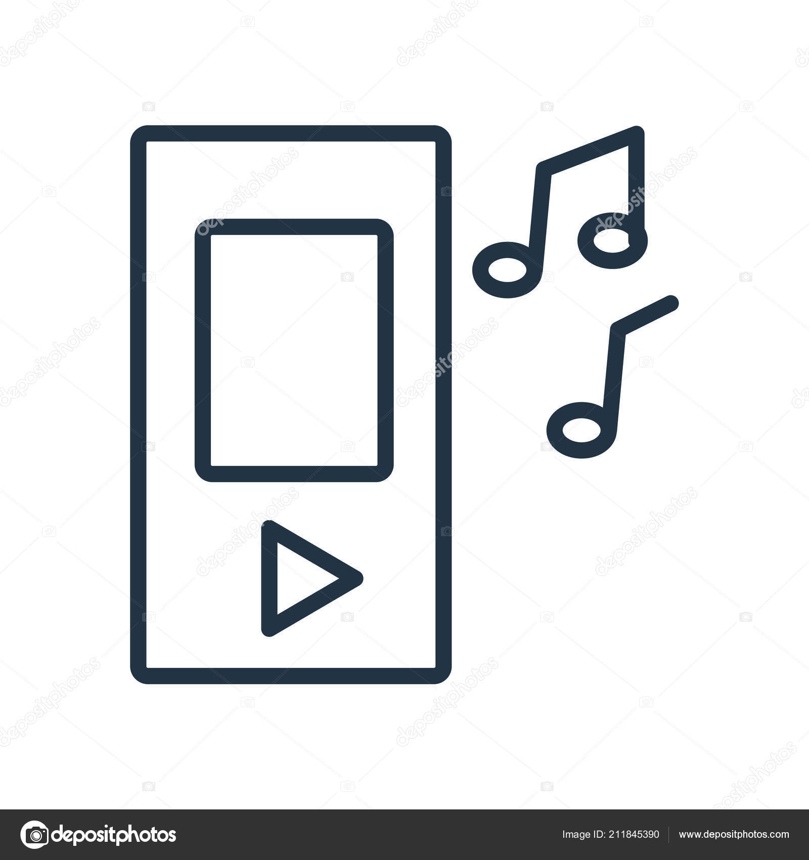Music Icon Vector Isolated White Background Music