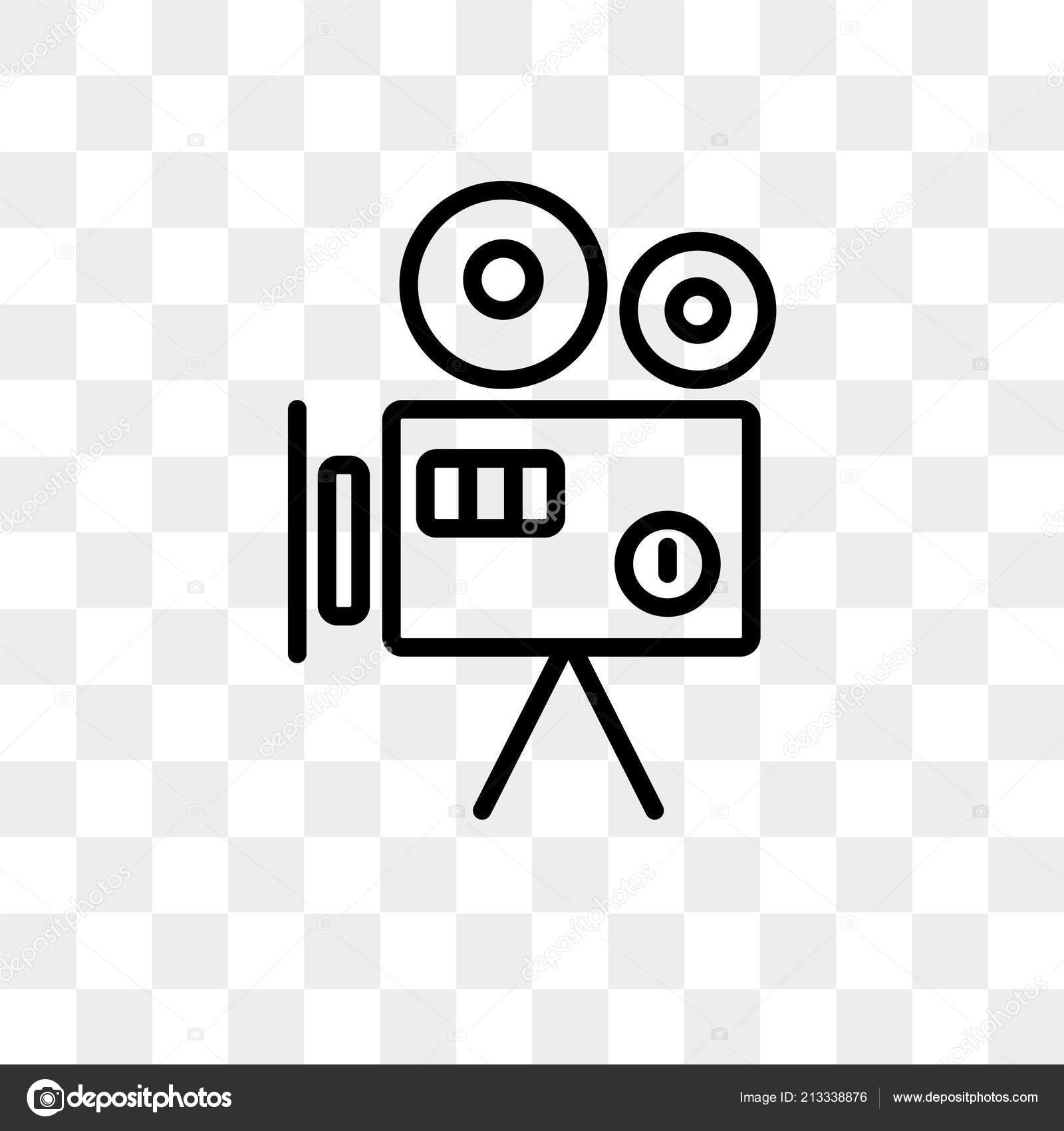 old video camera vector icon isolated on transparent