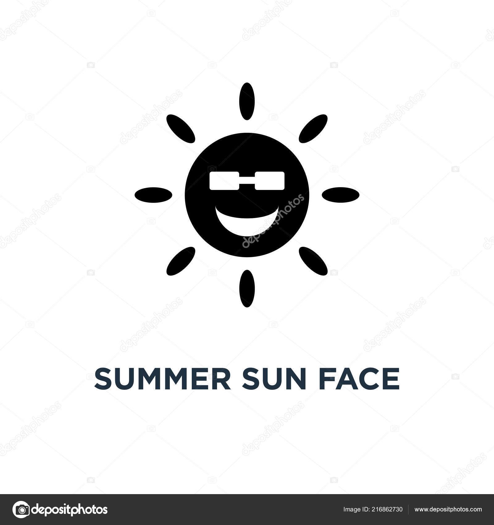 Summer Sun Face Sunglasses Icon Simple Element Illustration