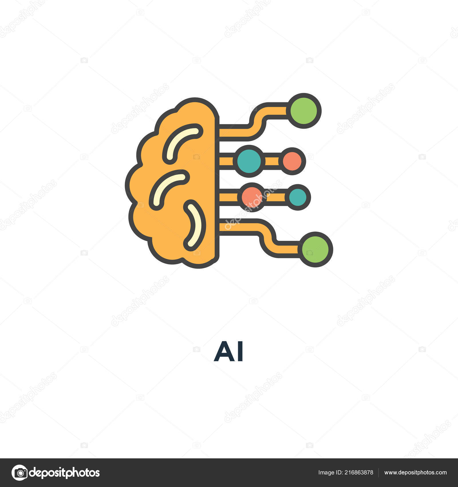 Icon Artificial Intelligence Concept Symbol Design Brain Electronic
