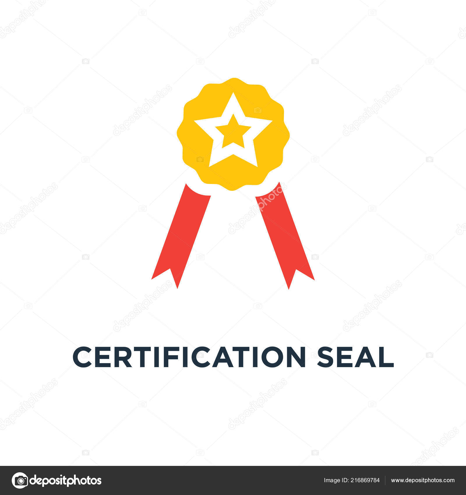 Certification Seal Icon Award Badge Certificate Concept Symbol