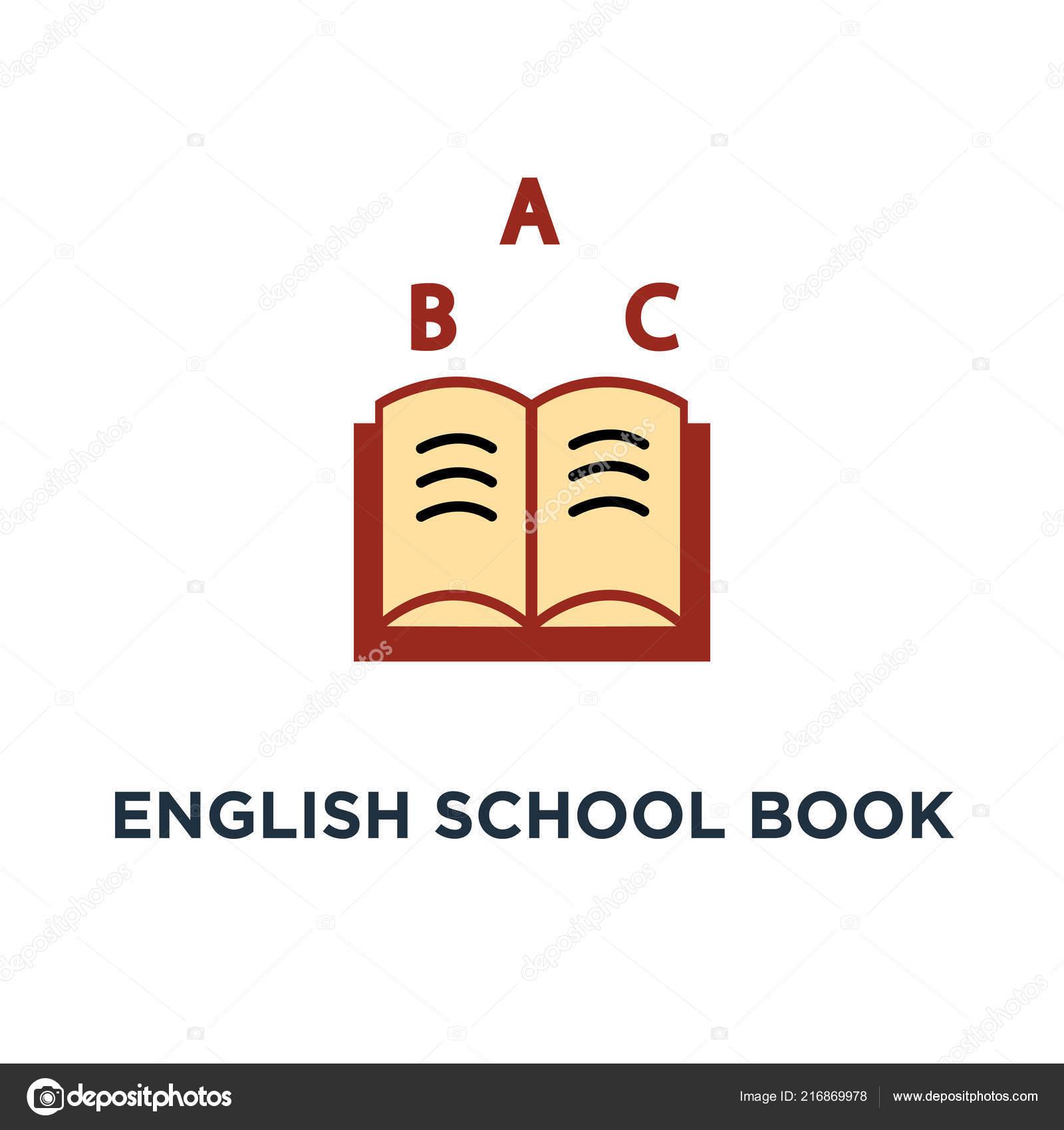 ícone Livro Escola Inglês Emblema Com Livro Conceito Símbolo Projeto