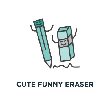 cute funny eraser chasing the pencil, he wants to cuddle, rubber icon. correction concept symbol design, erasure mistake correction, remove, deleting tool, outline, vector illustration