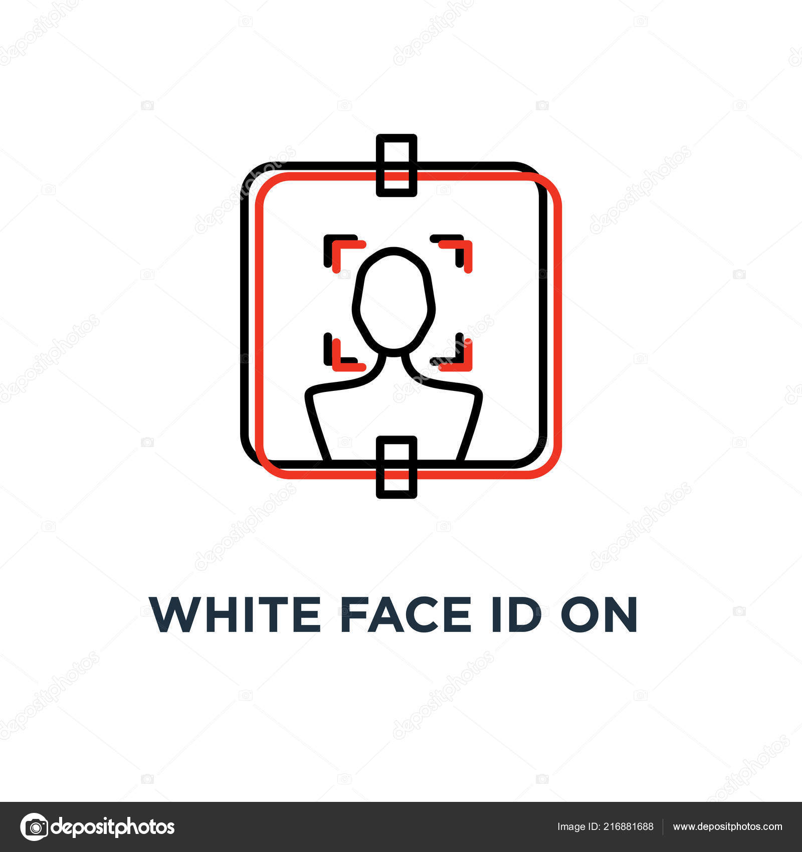 Faccia Bianca Sull Icona Sfondo Rosso Simbolo Scansione Facciale