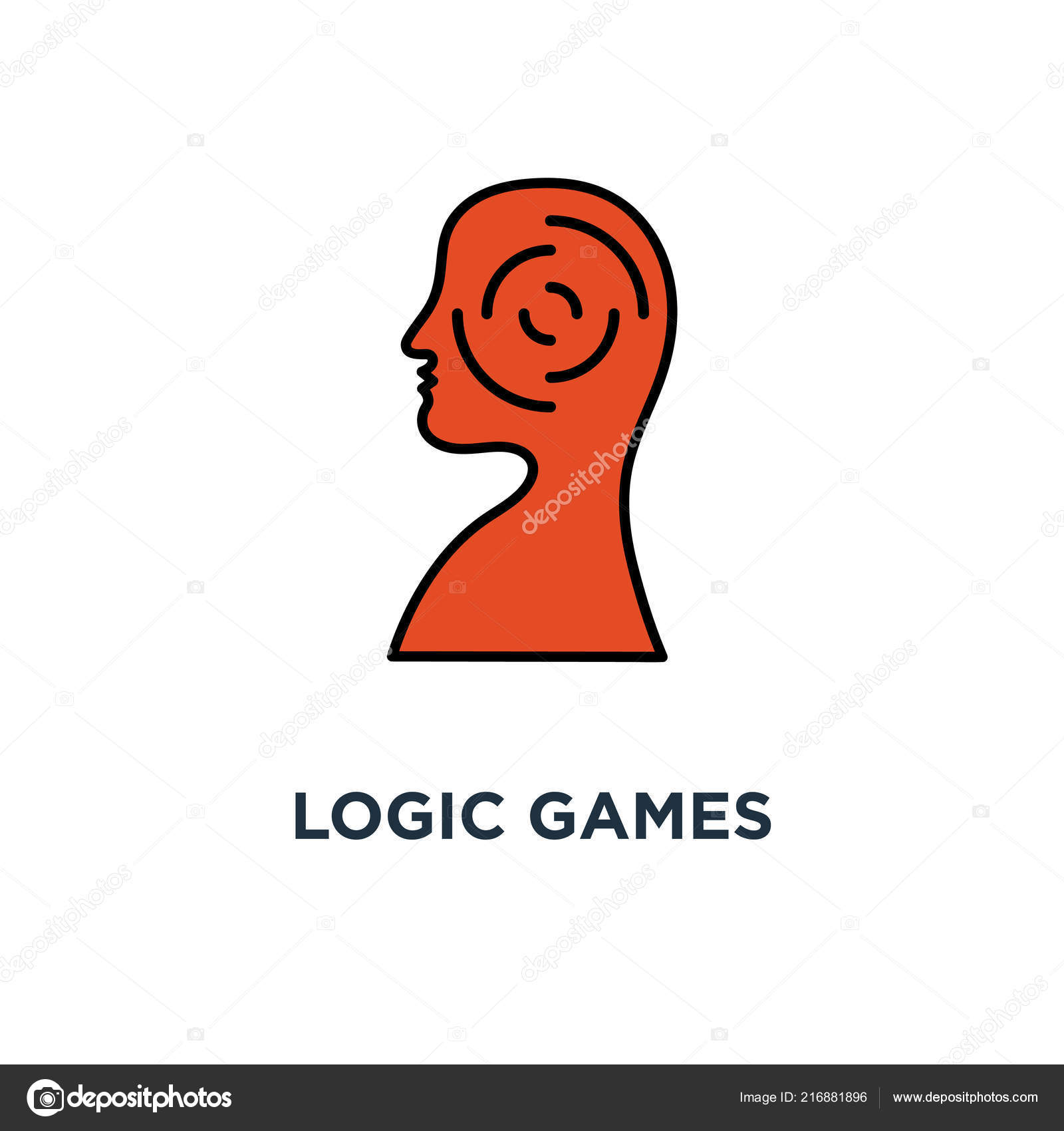 Logic Games Icon Creative Thinking Psychology Concept Symbol Design