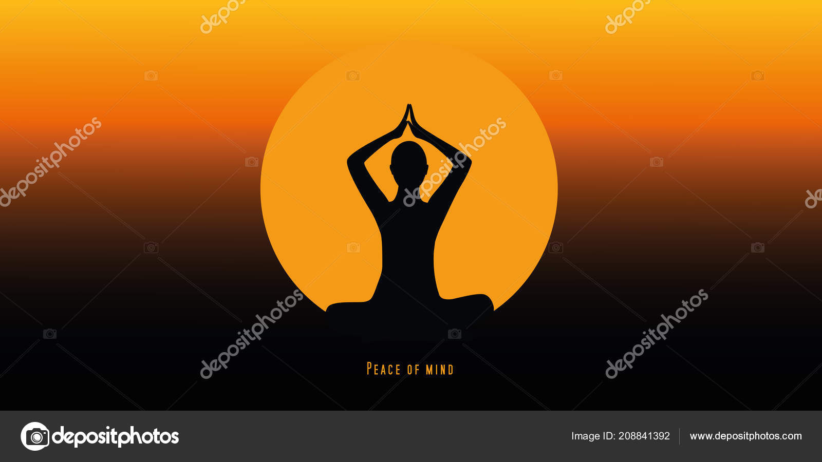 Yoga Person Sitting In A Lotus Pose Silhouette Sunset Stock Vector