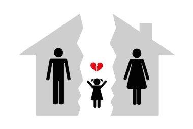 divorce man woman and child brocken house