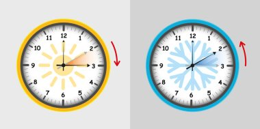 clock switch summer and winter vector illustration EPS10