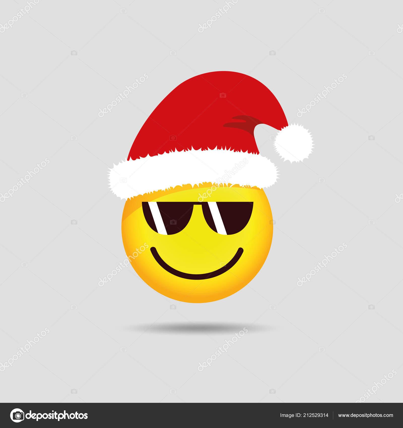 cool santa claus emoticon with sunglasses smiley emoji ⬇ vector image by ©  krissikunterbunt | vector stock 212529314  depositphotos