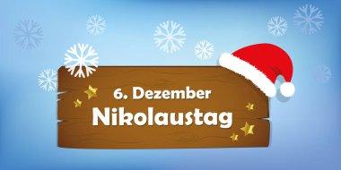 wooden sign 6th december Saint Nicholas Day snow background