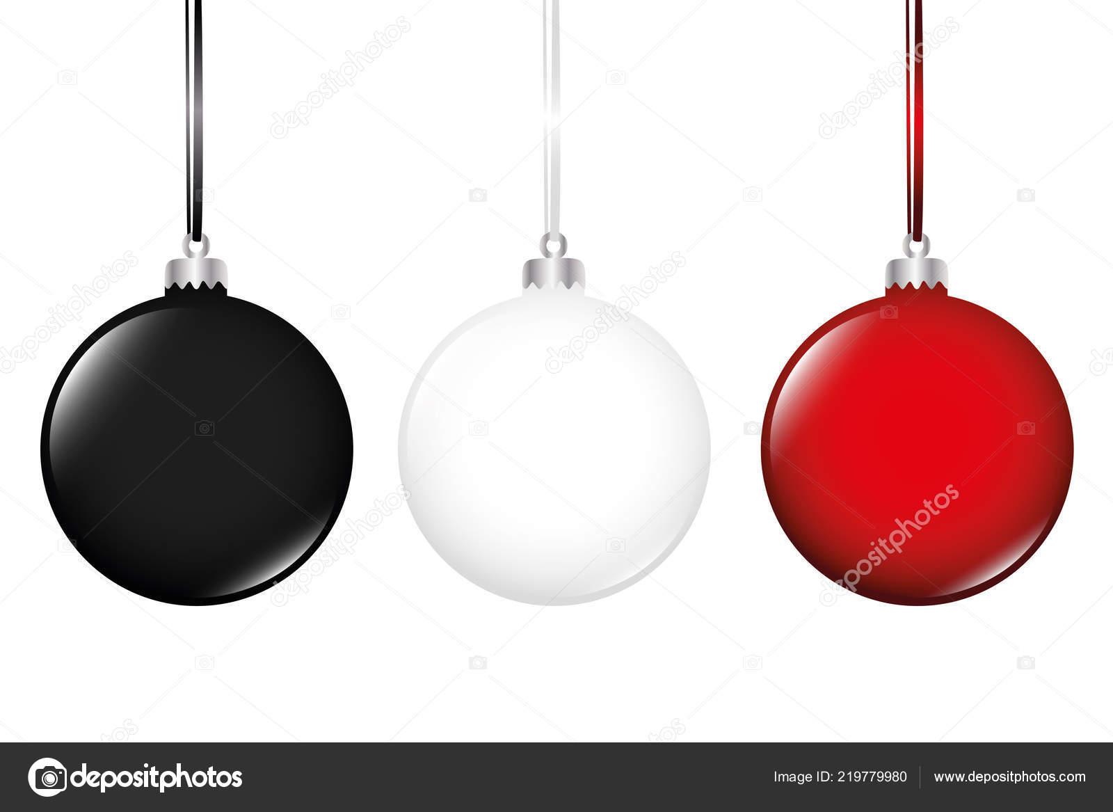 Boule De Sapin De Noël Noir Blanc Et Rouge Isolé Sur Blanc