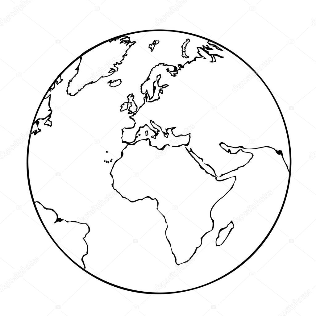 erde globus einfaches symbol piktogramm gliederung