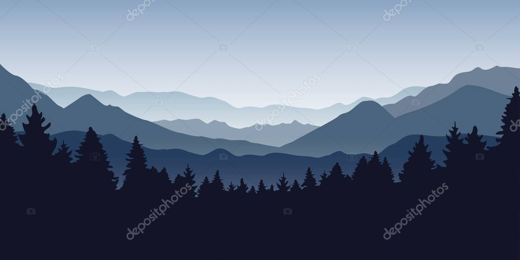 blue foggy mountain and forest nature landscape