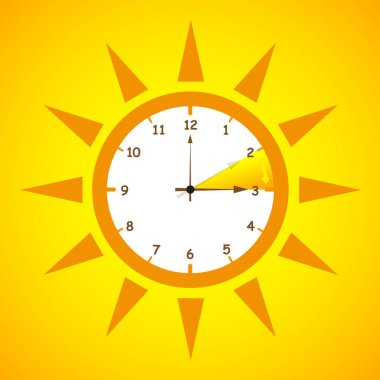 summer time standard time after advancing for daylight saving time on yellow background