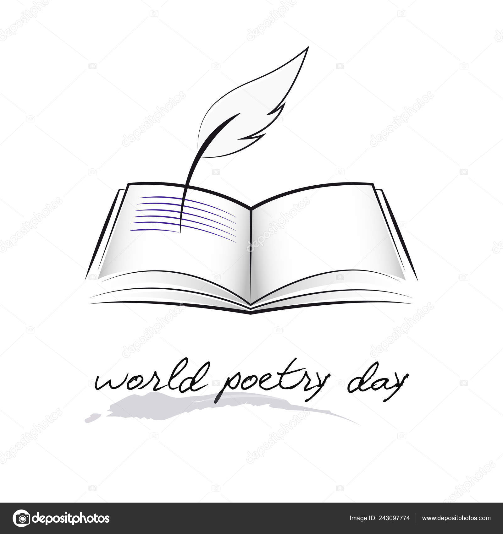 World poetry day sketch of a fountain pen and book stock vector