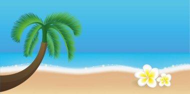 """Картина, постер, плакат, фотообои """"Пальмы на пляже с тропической Франгипани Цветы Лето праздник дизайн"""", артикул 244743968"""