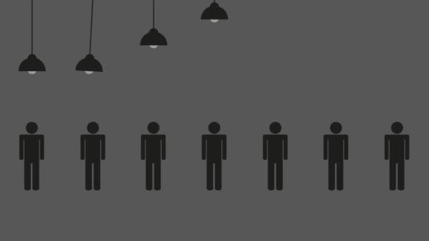Geschäftsmann steht im Rampenlicht zwischen vielen anderen