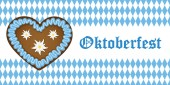 Oktoberfest-Banner mit Lebkuchenherz auf Bayern-Fahne Hintergrund blau-weiß