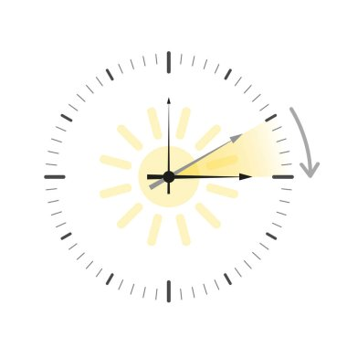 clock with sun summer time daylight saving time