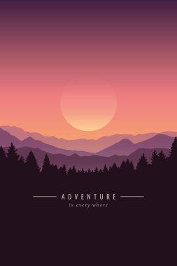 adventure purple mountain landscape background
