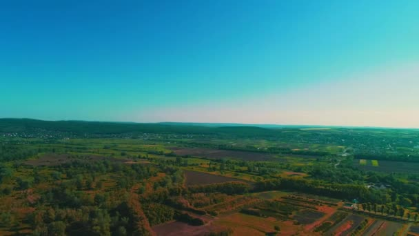 4K aerial view of beautiful landscape with residential area, logistics and fresh rivers.