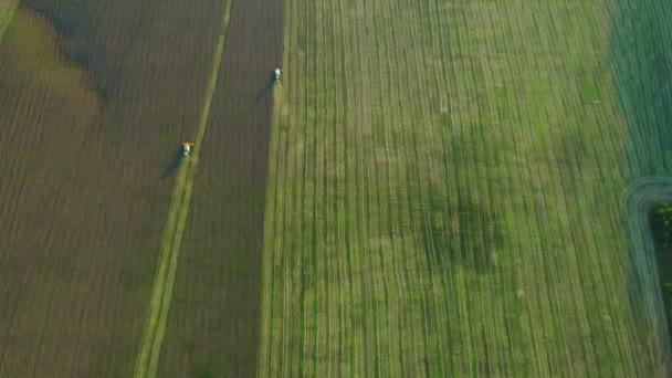 Rallentatore. La macchina contadina sta lavorando su un campo di grano, la raccolta. 4k.