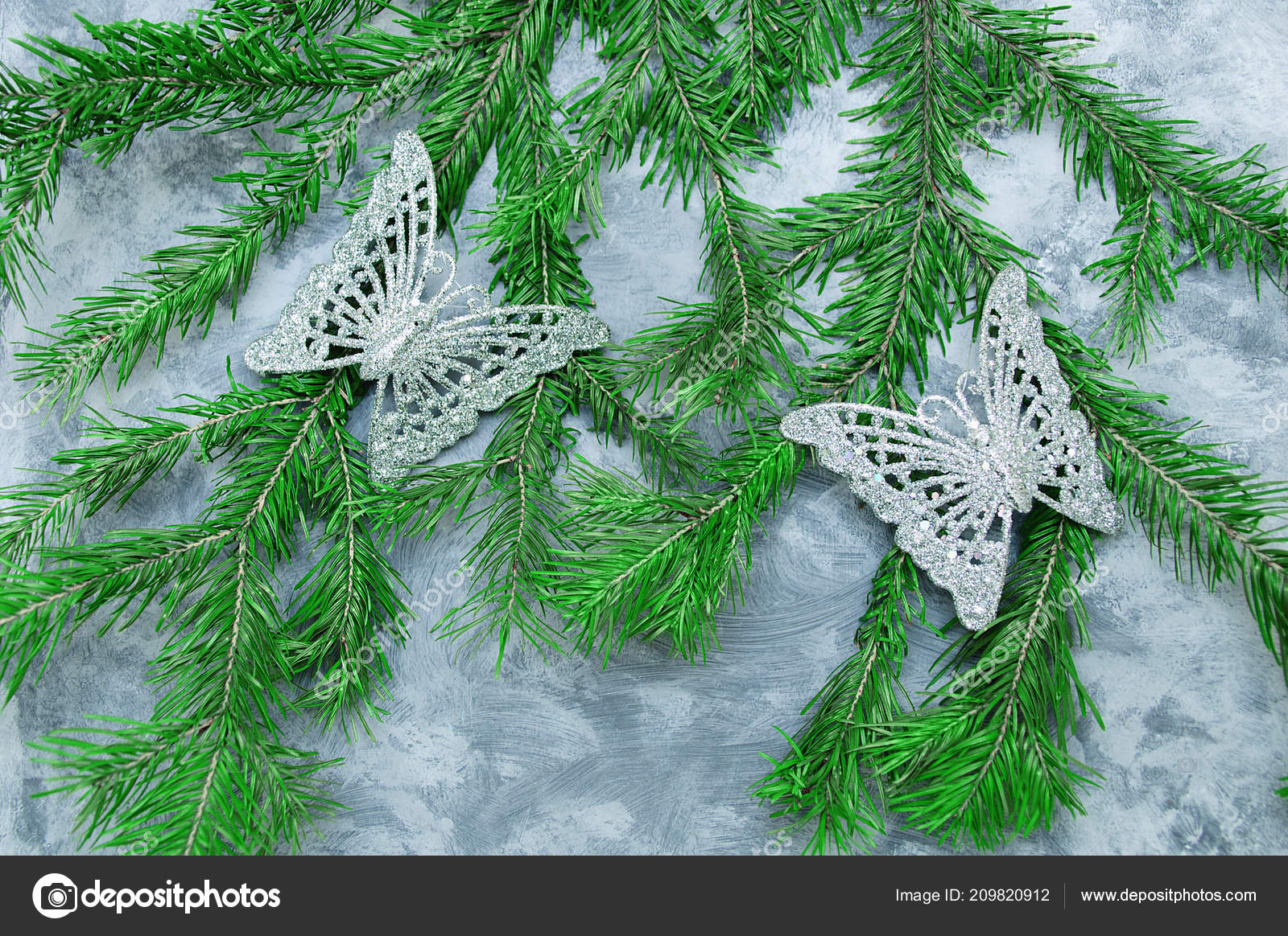 Christmas Decorations Butterfly Christmas Tree Concrete Background — Stock Photo