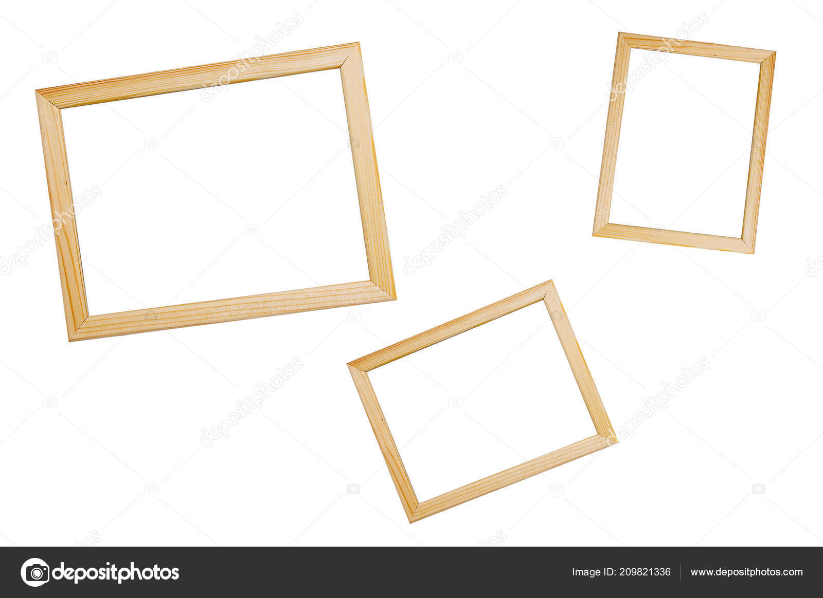 Wooden Frames Different Sizes Photos White Isolate — Stock Photo ...
