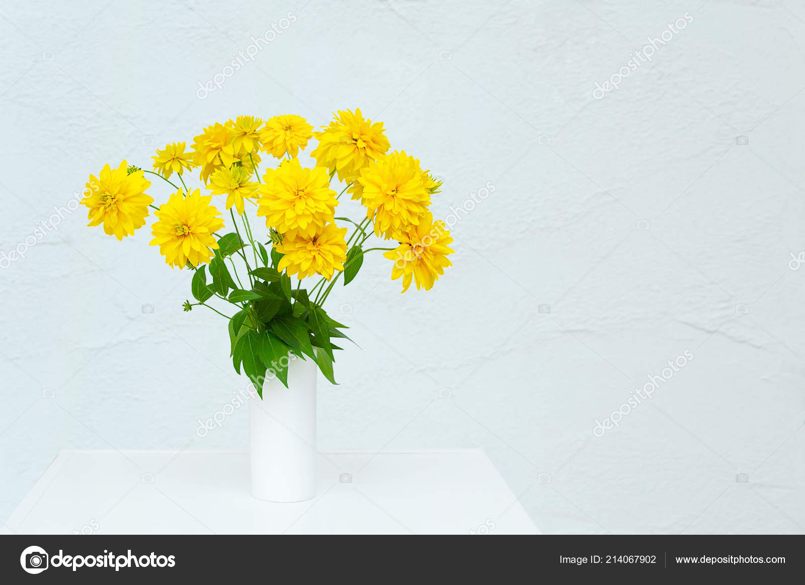 Bouquet Yellow Flowers Heliopsis White Vase Room White Dresser ...