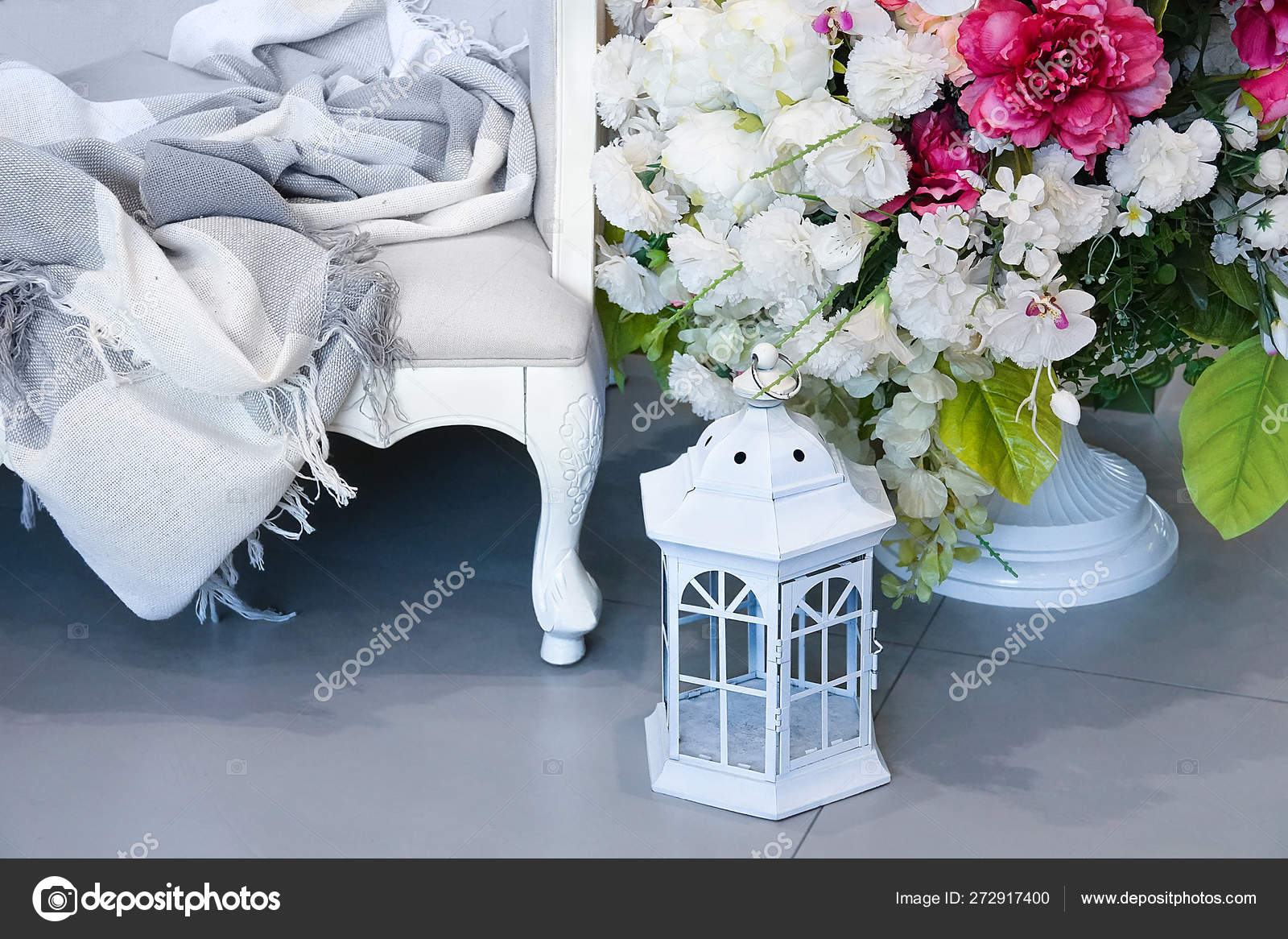Interior Room White Sofa Blanket Flowers Vase White Lantern Candle Stock Photo Iulal 272917400