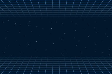 Horizontal matrix grid in space. Futuristic background