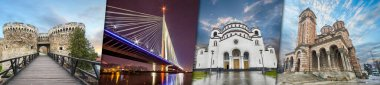 Creative Collage View Of Belgrade, Serbia Architectural Monuments - Ada Bridge , Kalemegdan Fortress , Saint Sava cathedral , Saint Mark's Church . Most important historical monuments and sightseeing