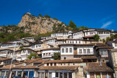 Historic city. Traditional ottoman houses in Berat old town (mangalem district) in Albania . listed as UNESCO world heritage site, along with river Osum bank. thousand windows city