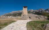 Kruje, Albania - 19 June, 2019: The Skanderbeg Museum in Kruja, Albania. The building of George Castriot ( Skanderbeg ) - national albanian hero. Kruje Castle and fortress