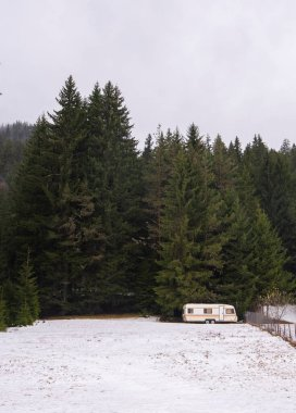 Car caravan trailer in the snow front of Christmas trees in the mountain - winter holidays, sports events on the ice