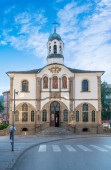 Gabrovo, Bulgaria - 04 August, 2019: Church of Assumption (Bulgarian: Uspenie Bogorodichno). The church is a masterpiece of the Bulgarian national Revivals architecture. In the center of the town