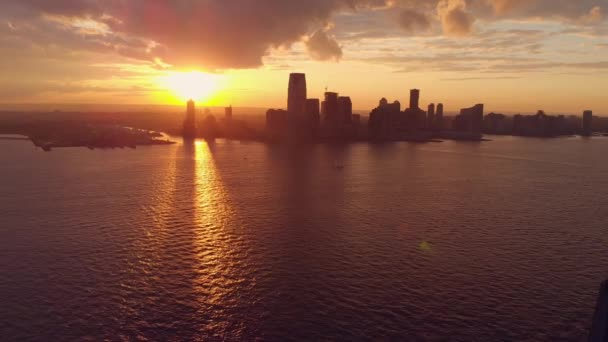 Pano view of skyline with sunset in New York