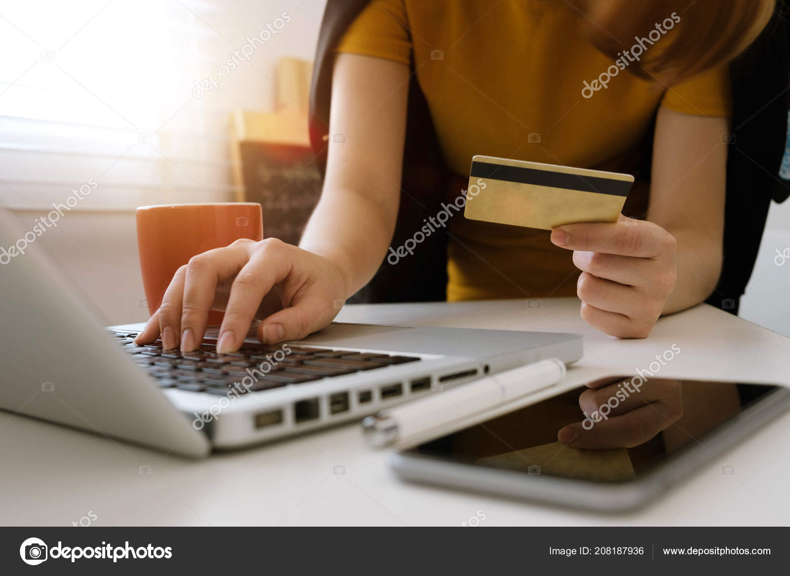 Business Woman Hands Using Smartphone Holding Credit Card