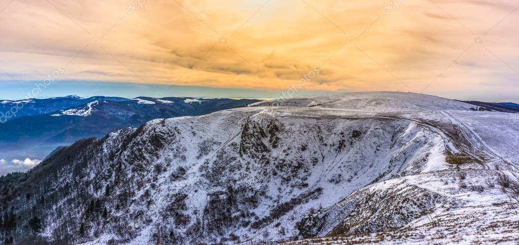 Beautiful landscape of the Vosges mountains in winter from the Hohneck, France.
