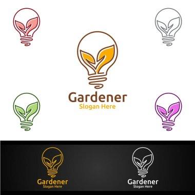 Idea Gardener Logo with Green Garden Environment or Botanical Agriculture