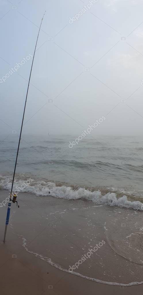 Fishing rod in the Baltic Sea beach