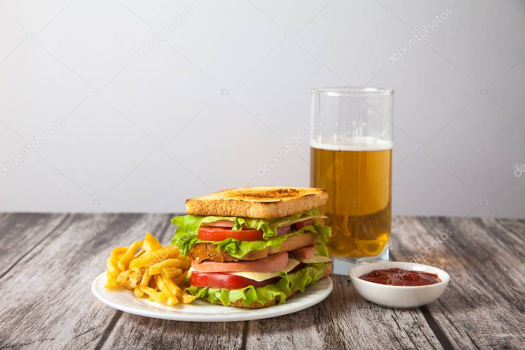 sandwich and fried potatoes on a plate with sauce and beer stand