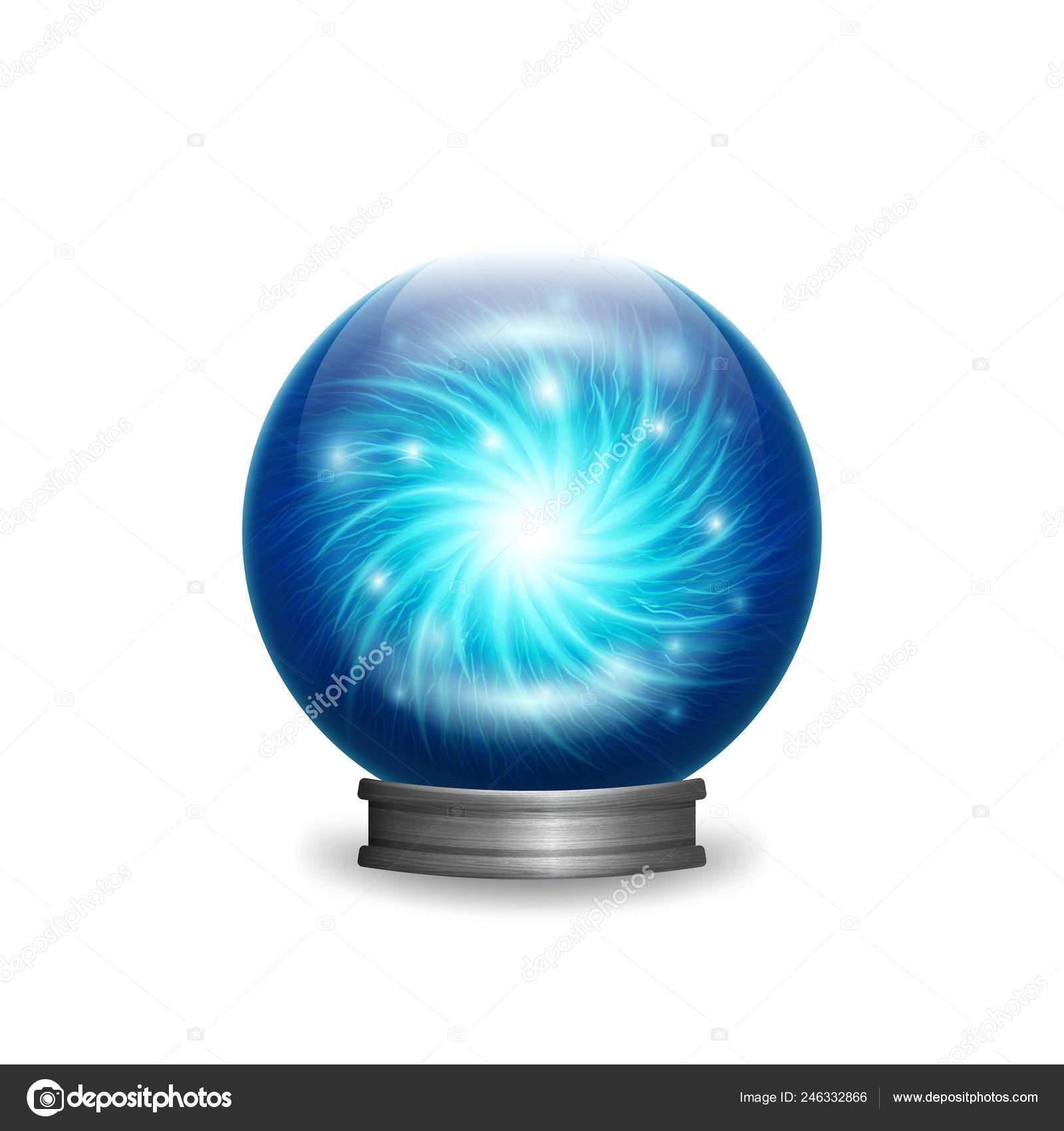Magic blue crystal ball with lights — Stock Vector © natbasil ...