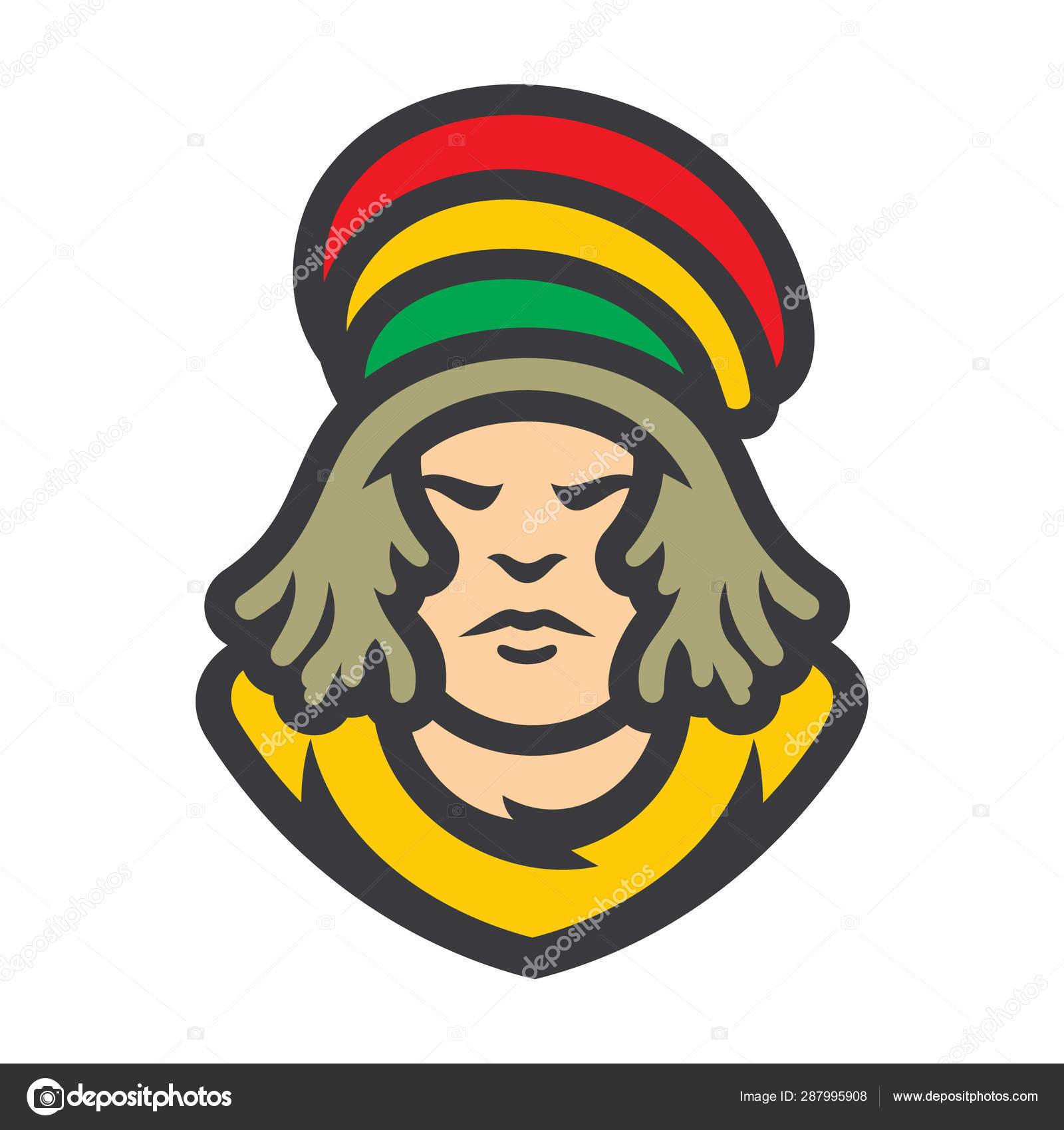 Rastafarian Reggae Boy Vector Cartoon Illustration Stock