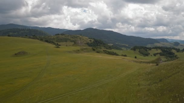 flying backwards over the hill (rocks, grass and bushes) - air footage of hills, meadows, trees, fields, mountains, forests, and in the distance flock of sheep (view from drone)