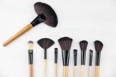 The cosmetic brush set put on background,for make up,professional brush set,the variation brushes for eyeshadow,lipstic,brush cheek,mascara,powder.beauty concept
